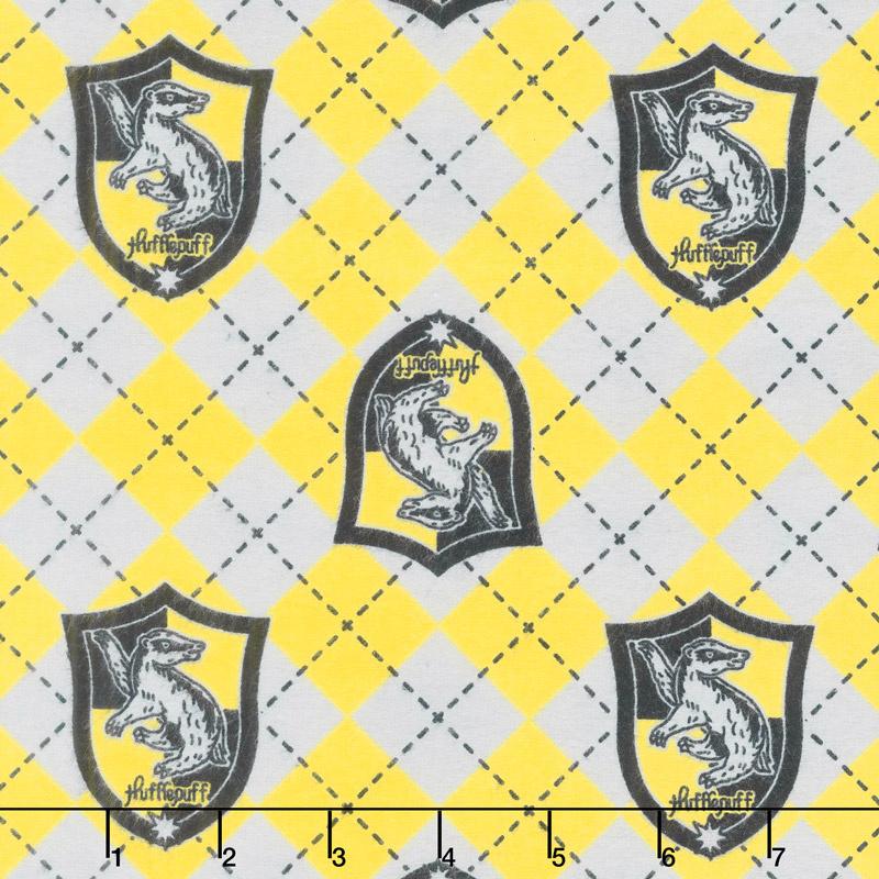 Wizarding World - Harry Potter Argyle Hufflepuff Crest Flannel Yardage