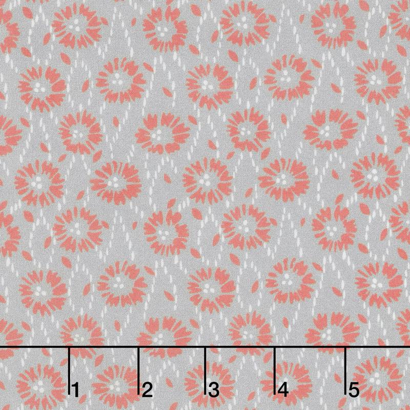 Floral Hues - Daisies Gray Cotton Lawn Yardage