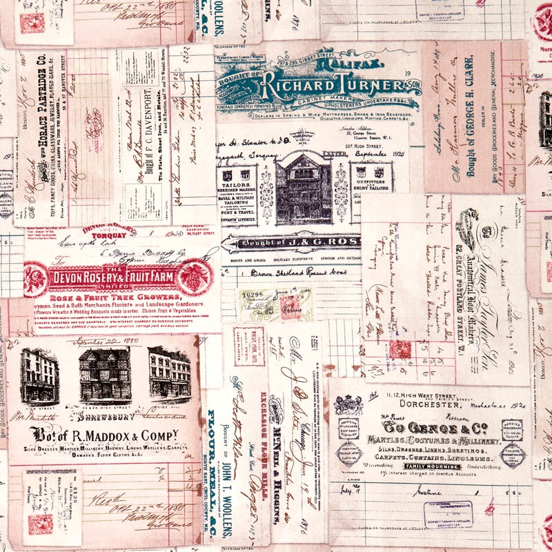 Eclectic Element - Dapper Vintage Receipts Multi Yardage