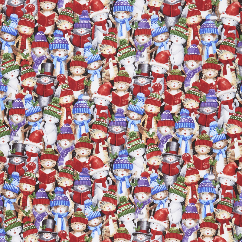 Christmas Novelties - Caroling Kitties Multi Yardage