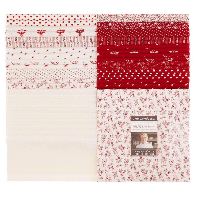 My Redwork Garden Layer Cake Bunny Hill Designs Moda Fabrics