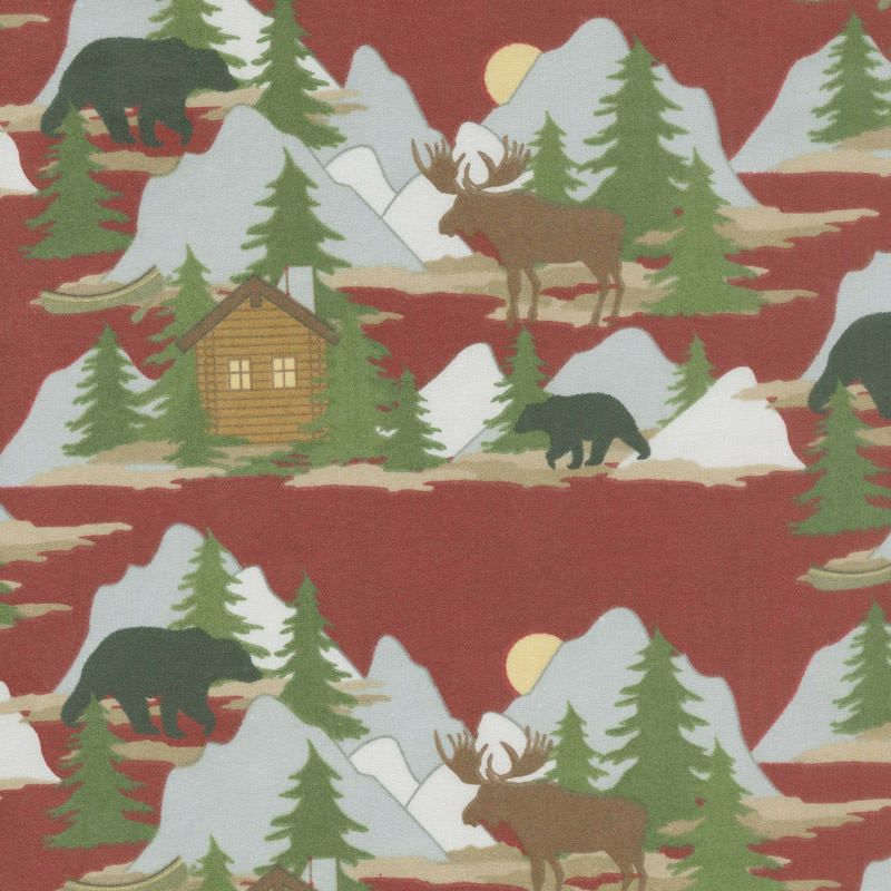 Designer Flannel - Cabin Fever Scene In Color Red Yardage