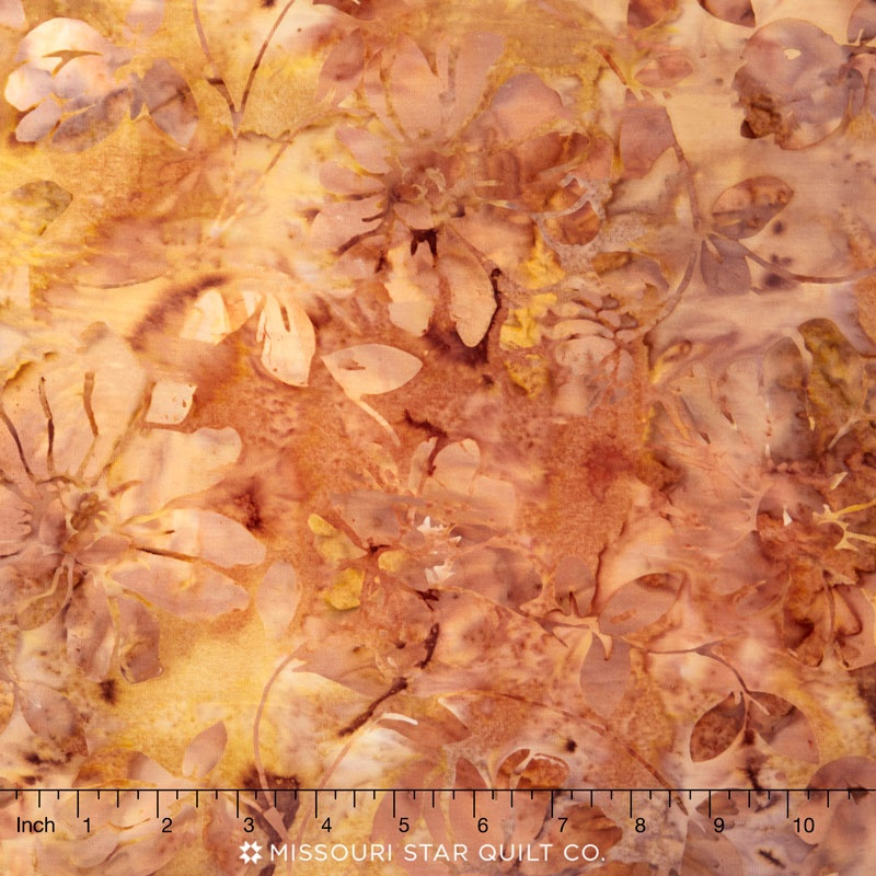 Tonga Batiks - Autumn Floral Scroll Acorn Yardage