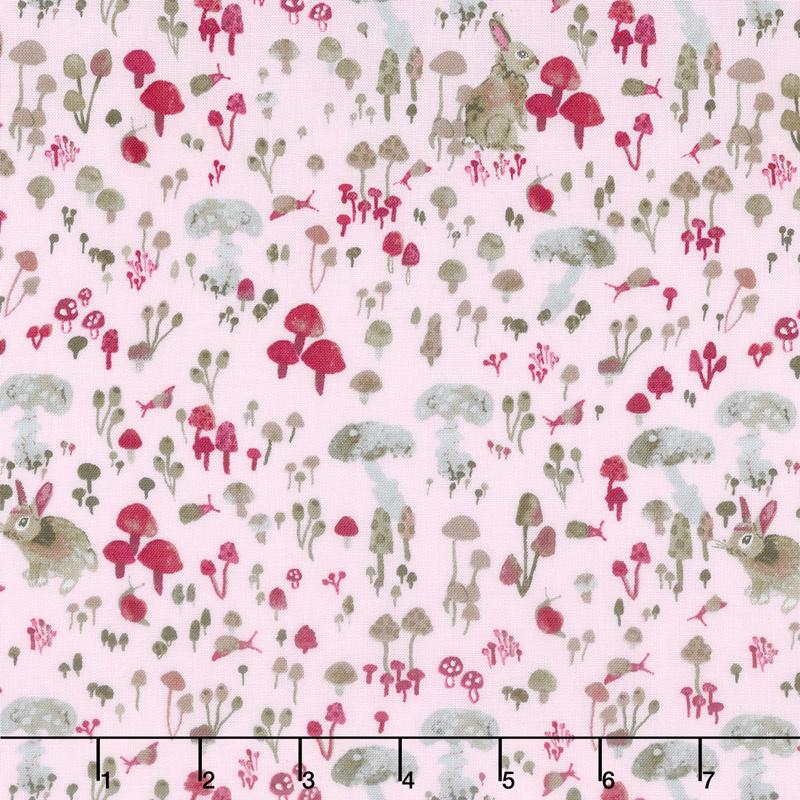 Enchanted Forest - Mushroom Hideaway Pale Pink Yardage