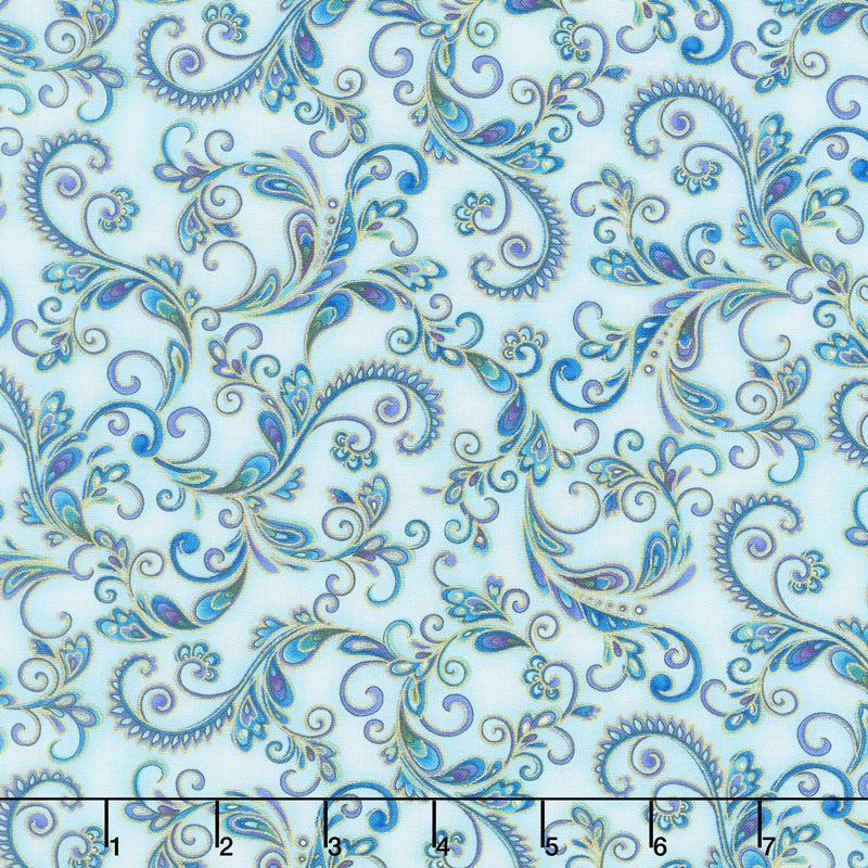 Regency - Elegant Feathers Aqua Metallic Yardage