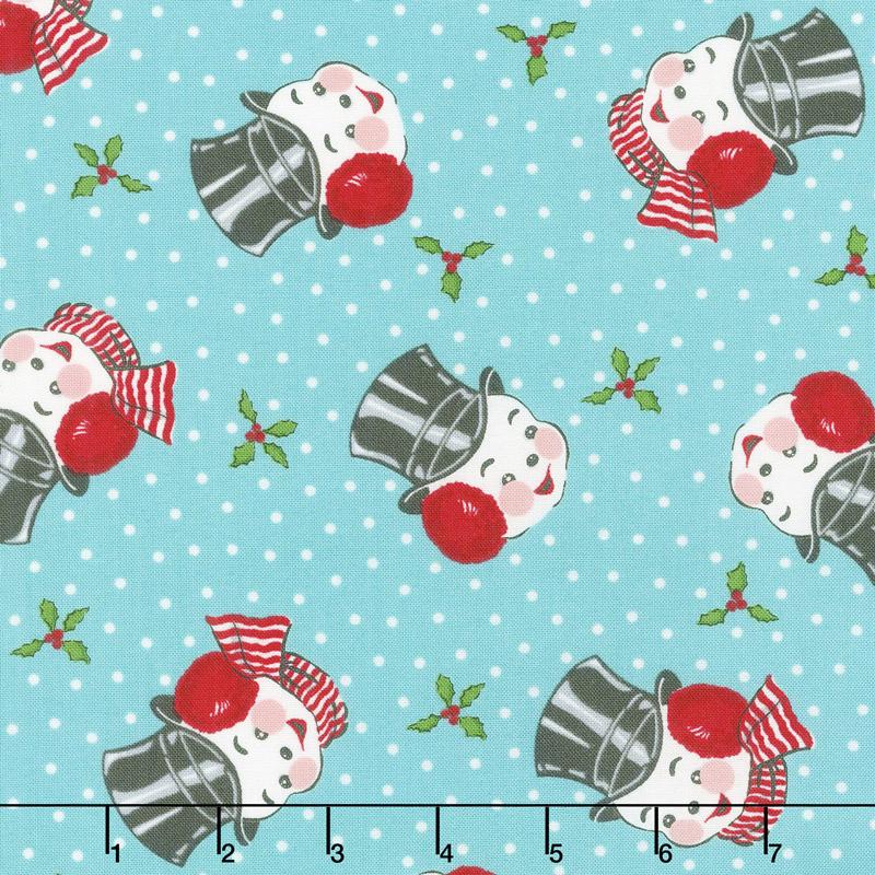 Sweet Christmas - Mr. Snowman Coolmint Yardage