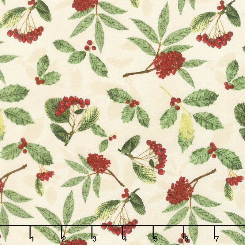 Festive Forest - Holly and Berries Cream Yardage