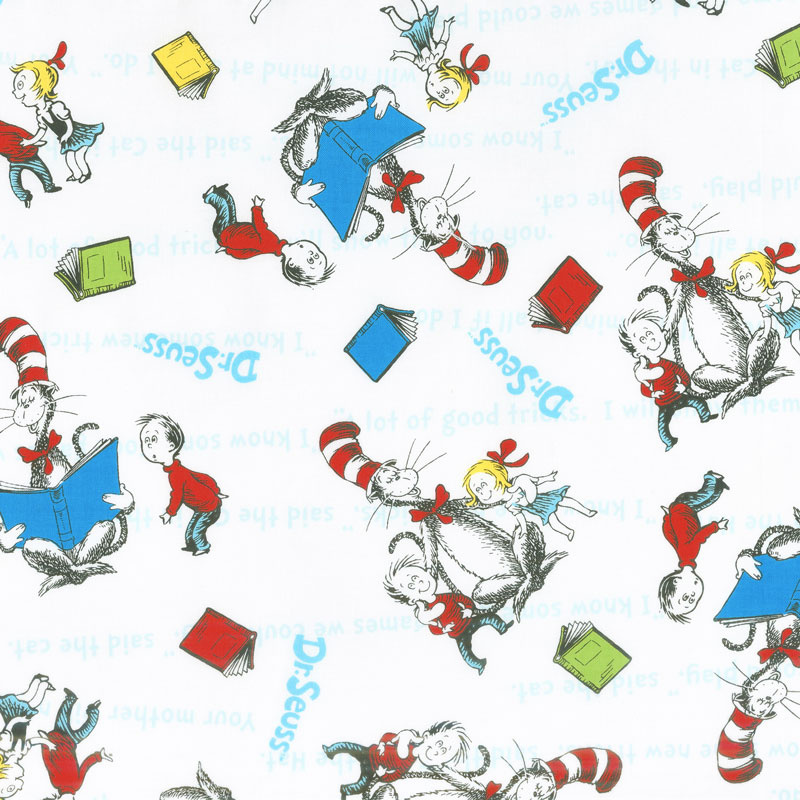 The Cat In The Hat Books Reading White Yardage Dr Seuss