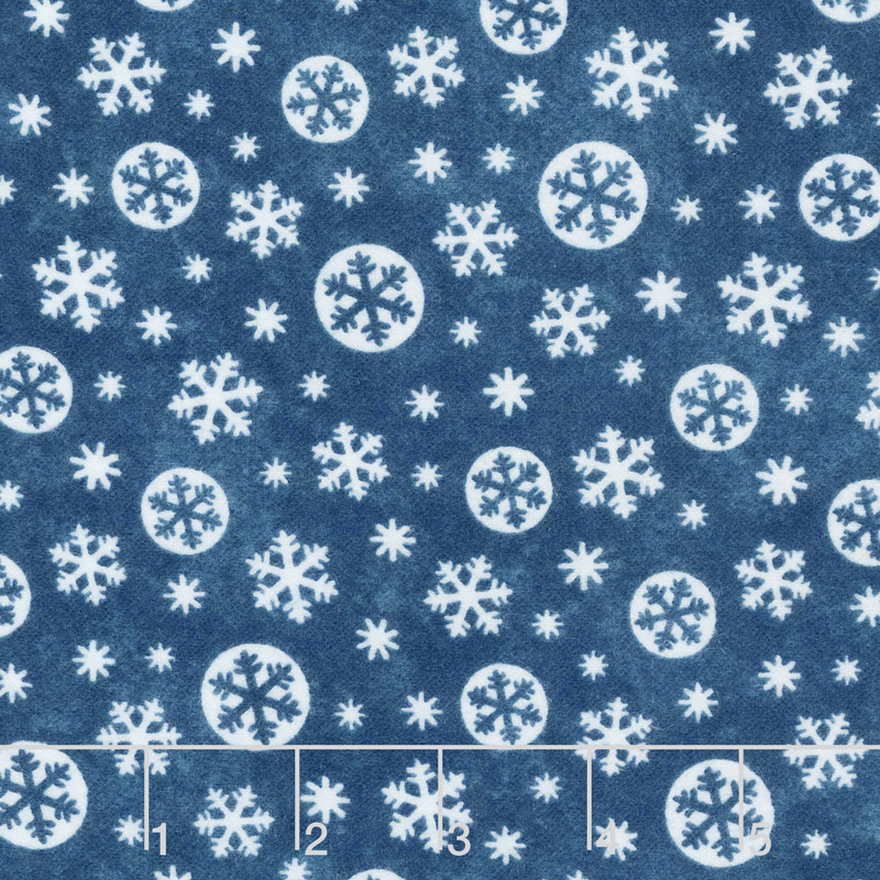 Below Zero Flannel - Large Snowflakes Denim Yardage