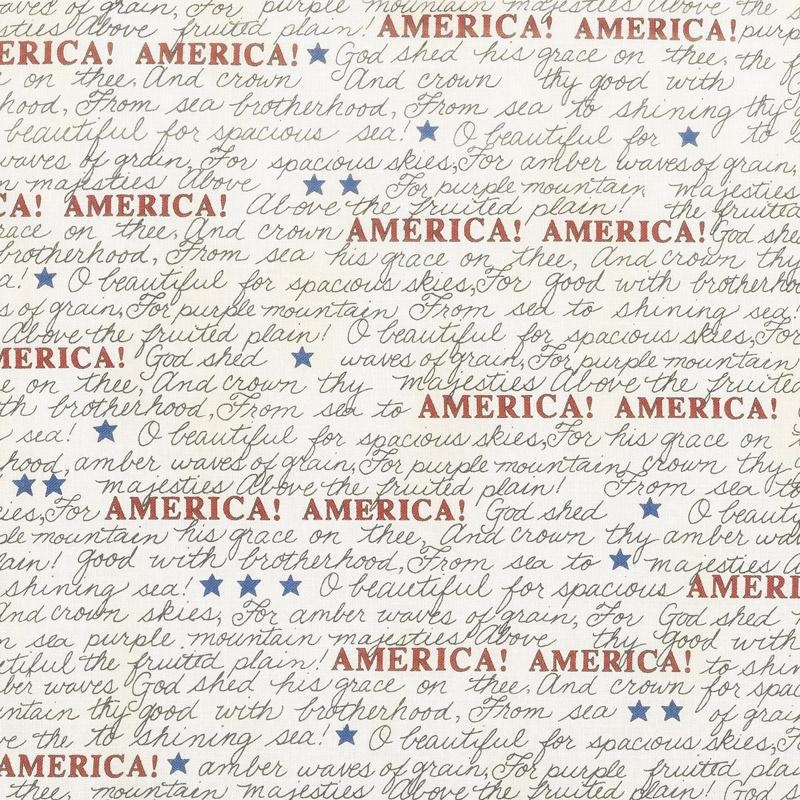 Land That I Love - America the Beautiful Barnwood White Yardage