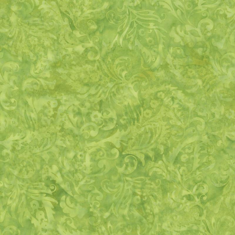 Fairy Slipper Batiks - Paisley Floral Lemon Lime Yardage