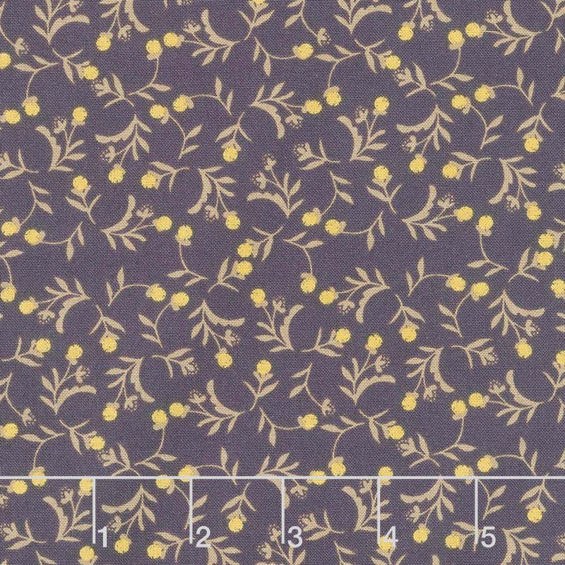 Tell the Bees - Dandelion Ditsy Aubergine Yardage