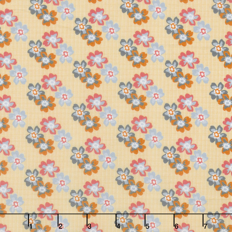 Floral Hues - Bouquet Yellow Cotton Lawn Yardage