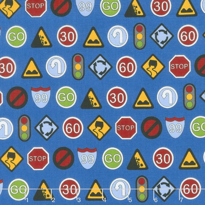 Traffic Jam - Signs Blue Yardage
