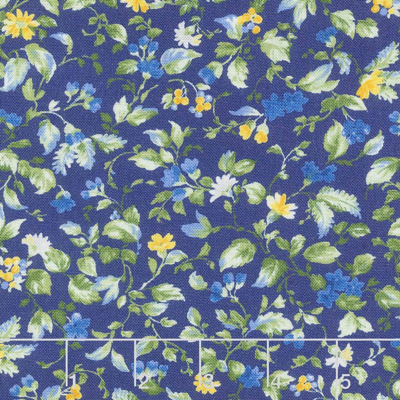 Summer Breeze VI - Flowers & Vines Navy Yardage