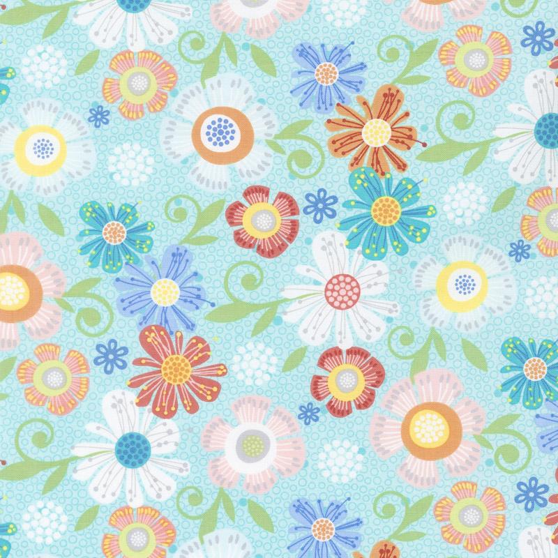 Home Grown - Floral Aqua Yardage