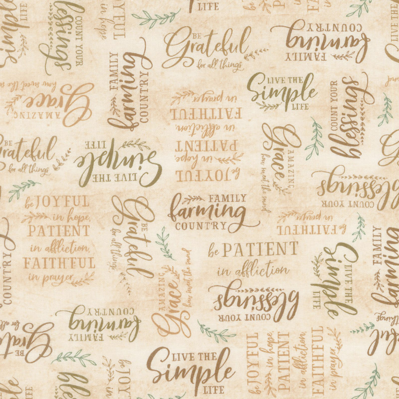 Farmstead - Words Allover Gold Yardage