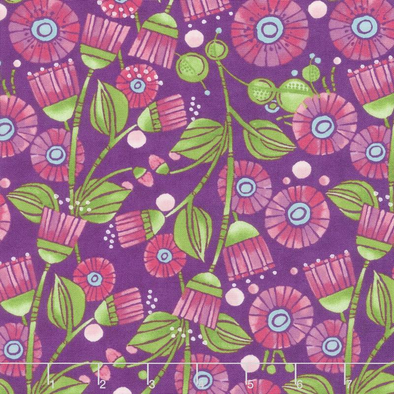 Sweet Pea & Lily - Aster Flowers Plum Yardage