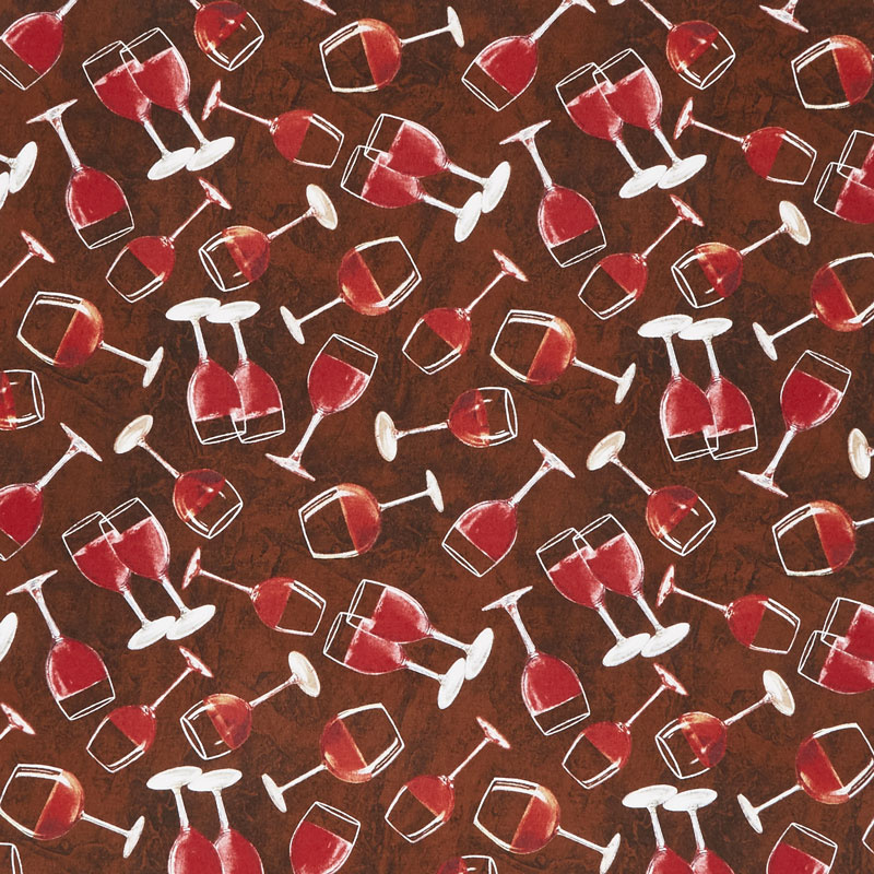 Tuscan Delight - Tossed Wine Glasses Brown Yardage