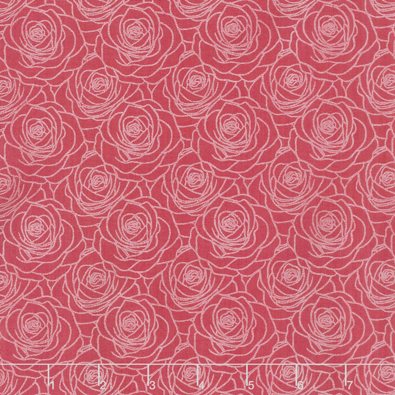 A Festival of Roses - Outline Roses Red Pearlized Yardage