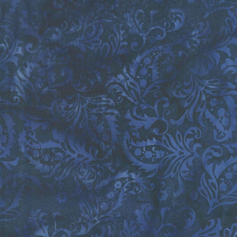 French Blue Batiks - Paisley Floral Storm Yardage