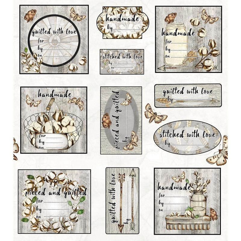 Love 4 Cotton - Quilt Labels Gray Panel