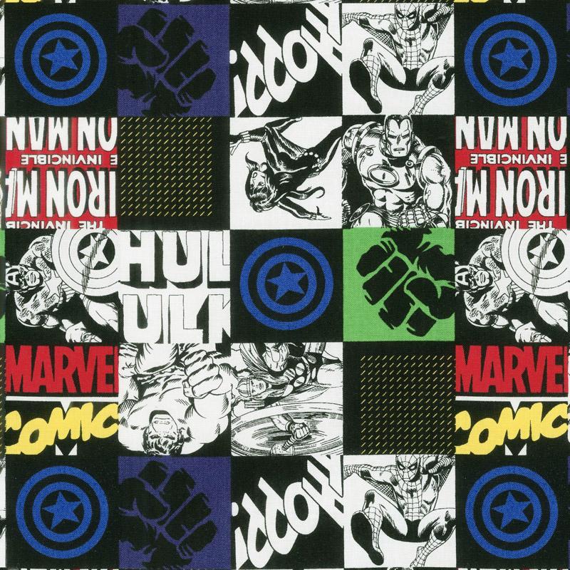 Marvel Comics Retro - Hero Blocks in Black Yardage