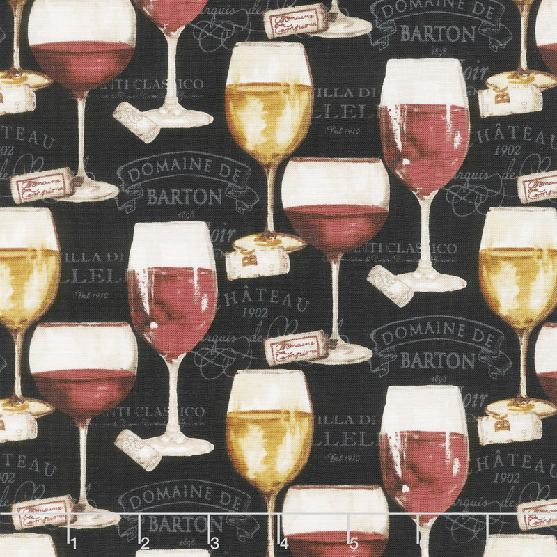 Wine Night - Wine Glasses Black Yardage