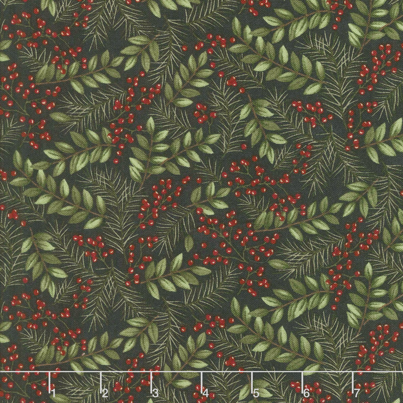 Winter Manor - Winter Greens Ebony Yardage