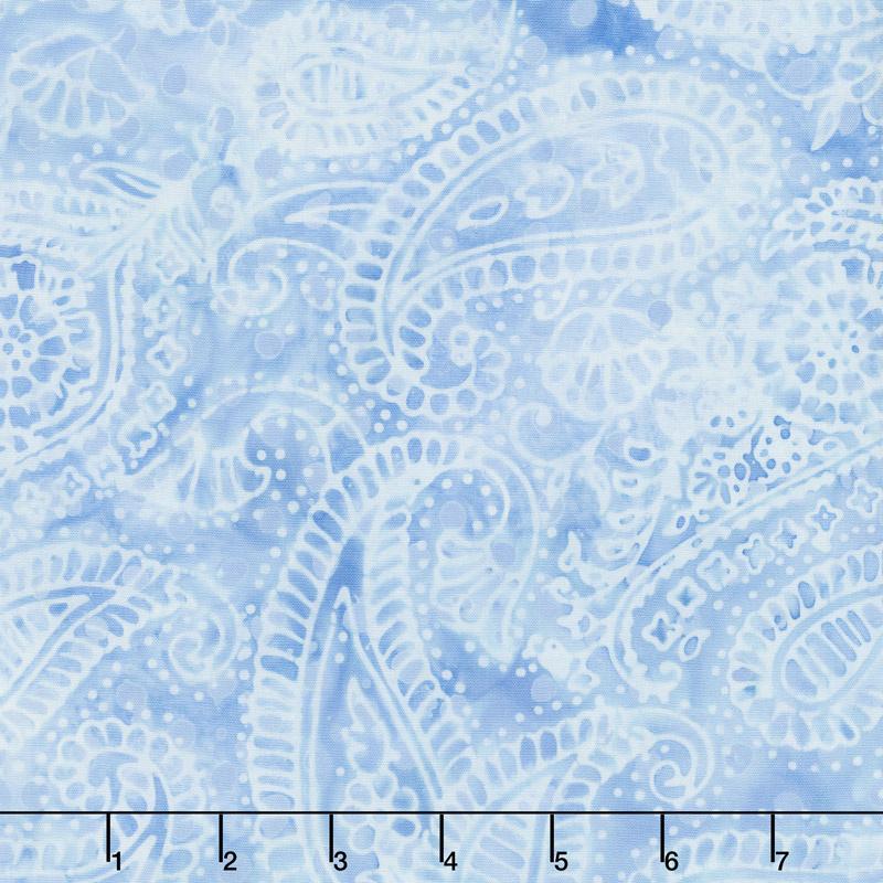 French Blue Batiks - Paisley Outline Sky Yardage