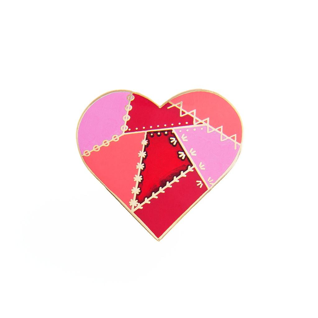 Red Patched Heart Pin by Pin Peddlers