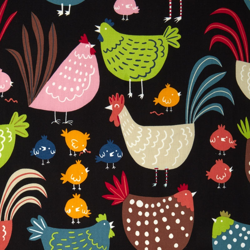 In the Kitchen - Cluck! Cluck! Black Yardage