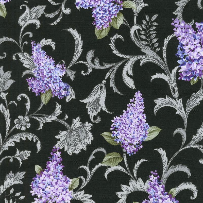 Lilacs in Bloom - Lilac Vine Scroll Black Yardage