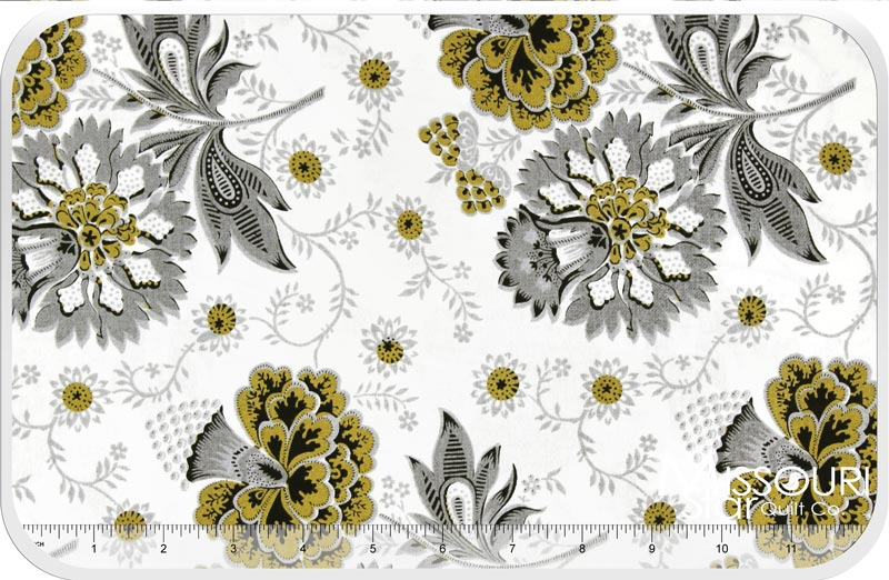 Aster Jacobean Floral Ivory Yardage Williamsburg
