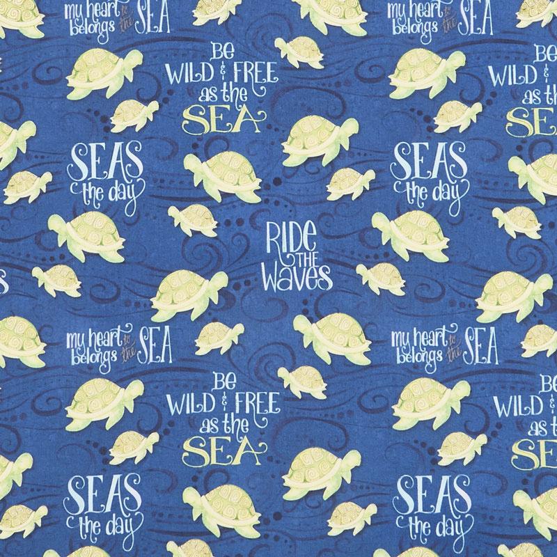 Water Wishes - Sea Turtles Navy Yardage