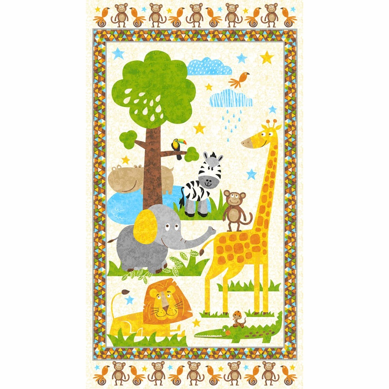 Safari Expedition - Scenic Safari Animals Ivory Panel
