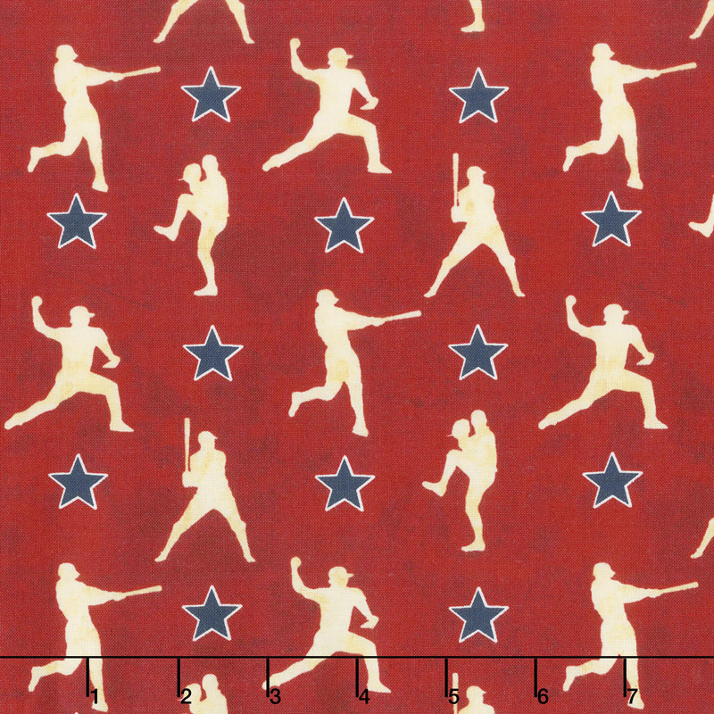 7th Inning Stretch - Player Silhouettes Red Yardage