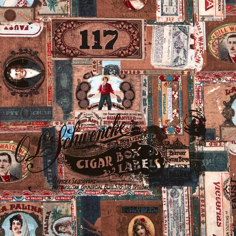 Eclectic Element - Dapper Cigar Box Labels Multi Yardage