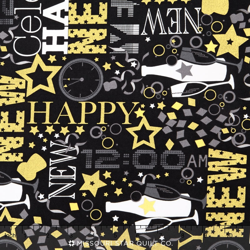Happy New Year Party Black Metallic Yardage Andover