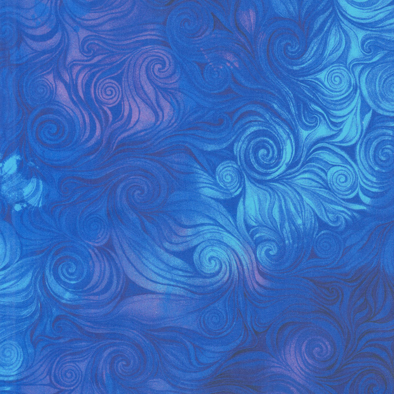 Awaken - Swirl Blue Yardage