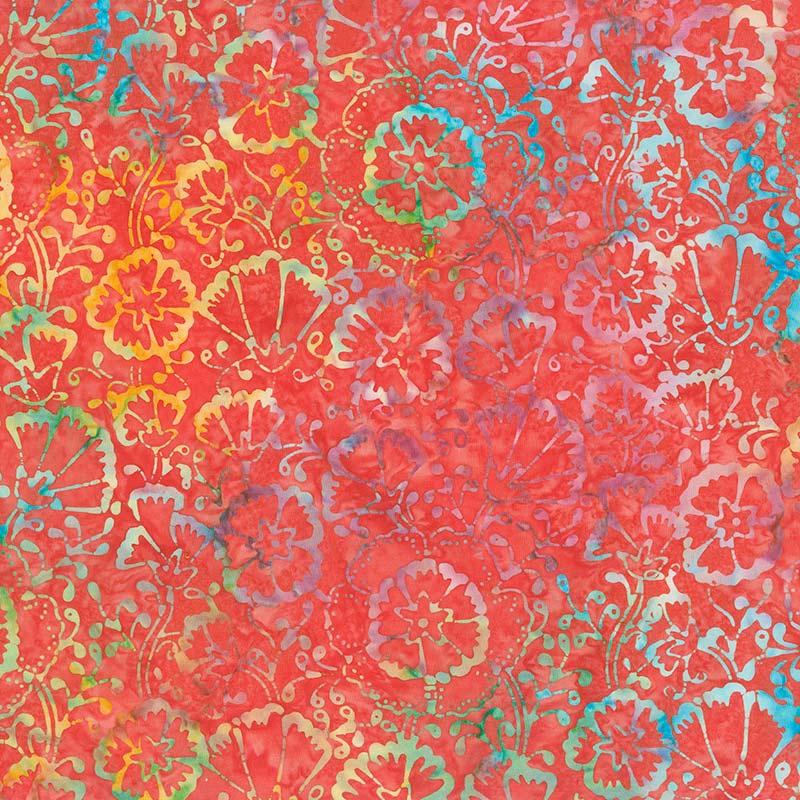 Tonga Batiks - Jump Scarlet Spring Floral Yardage