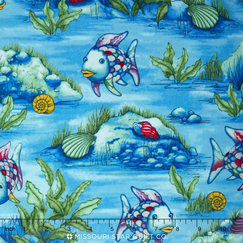 the rainbow fish underwater blue metallic yardage