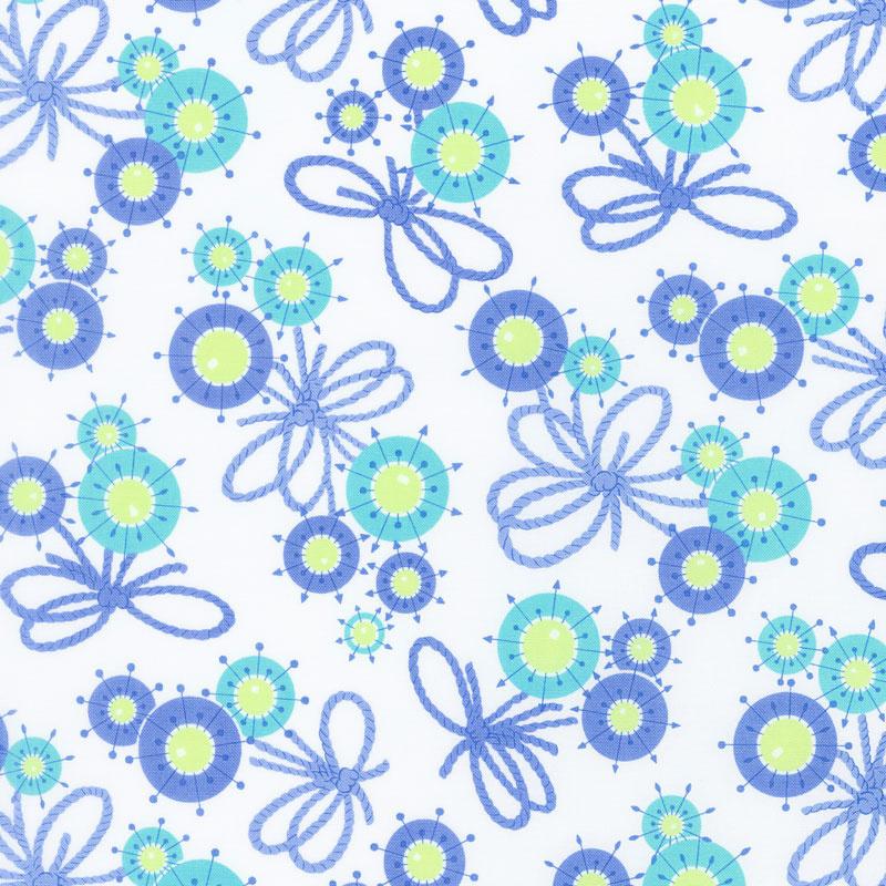 Flower Sacks - Flower Yarn Ties Blue Yardage