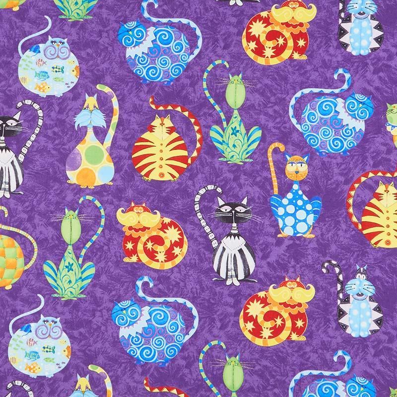 Catmosphere - Large Cats Purple Yardage