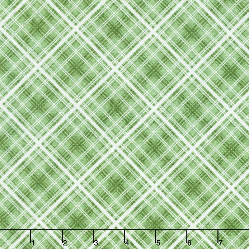 Hi - de - Ho! - Diagonal Plaid Green Yardage