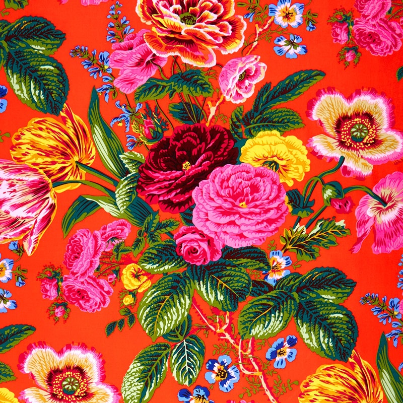 Kaffe Collective Spring 2017 - Sunshine Summer Bouquet Red Yardage