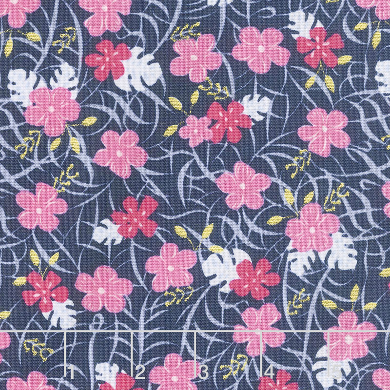 Let's Be Mermaids - Floral Navy Sparkle Yardage
