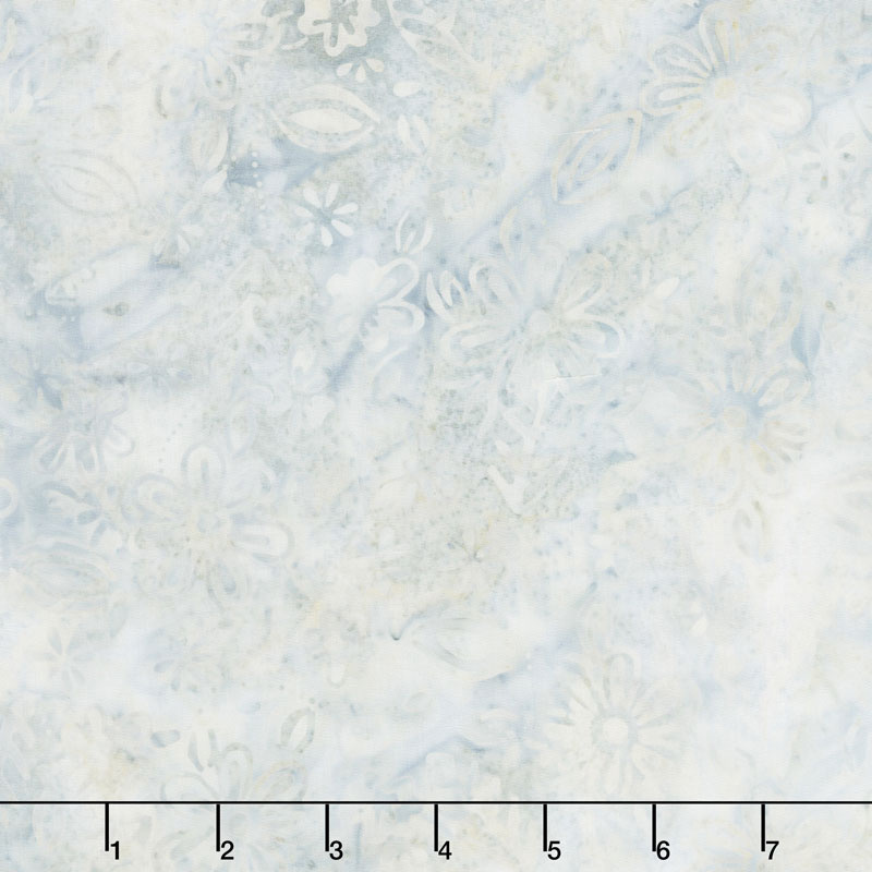 Queen Bee Batiks - Small Floral Light Gray Yardage