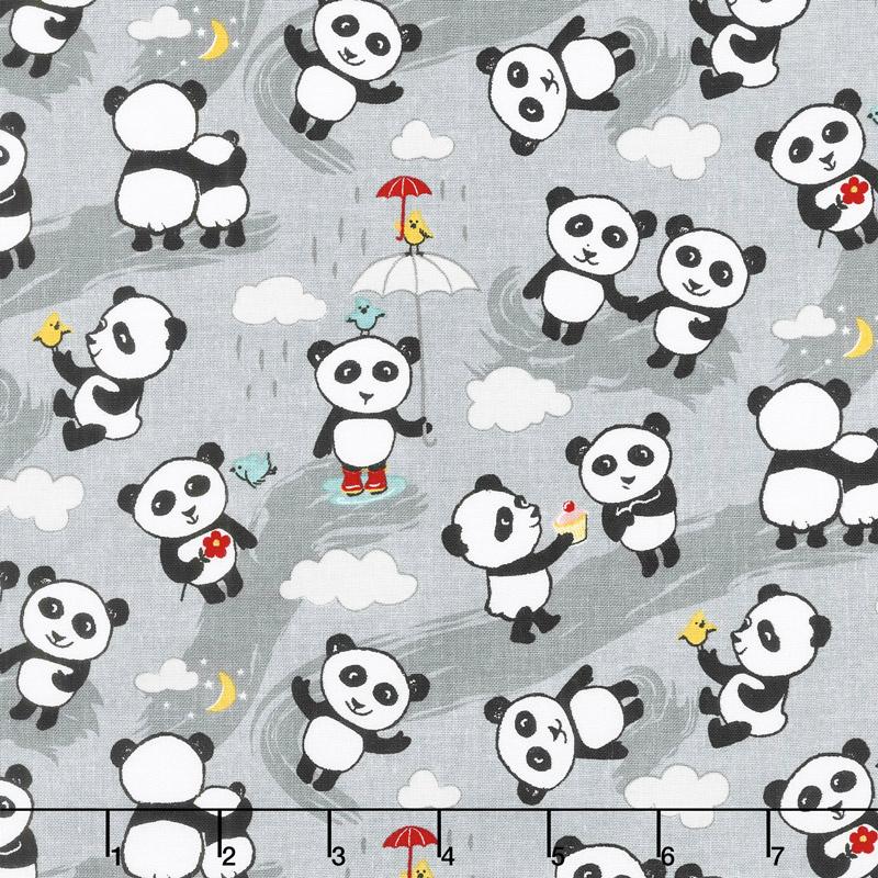 Panda Love - Toss Gray Yardage