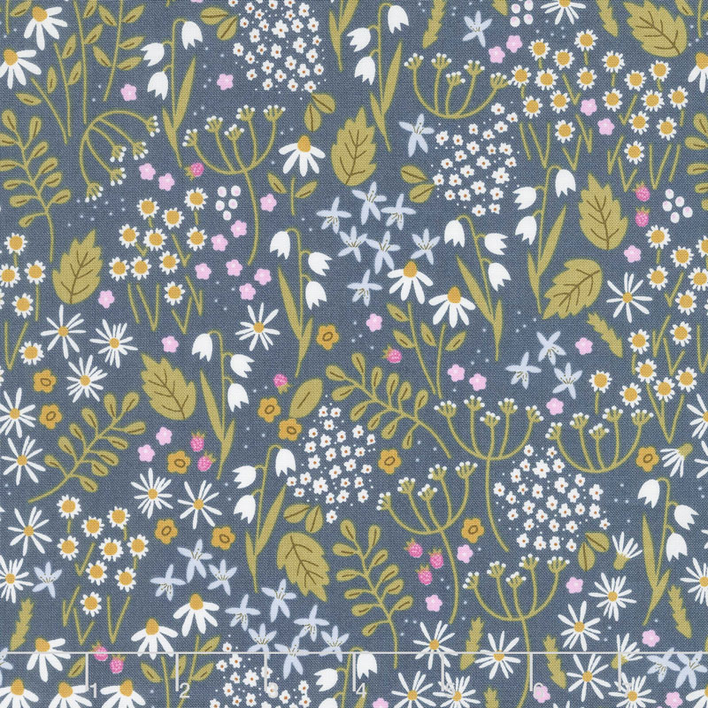 Wild Bouquet - Wildflowers Navy Yardage